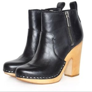 Dolce Vita 6 black leather wood clog zip booties